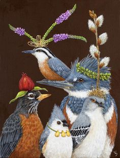 what decor isn't complete without guest towels in half bath? Soft 3 – Ply paper, naturally bleached, without chlorine. See full Vickie Sawyer Line X 15 napkins in a pack Museum Outlets All Nature, Whimsical Art, Animal Paintings, Bird Art, Cute Art, Pet Birds, Watercolor Art, Folk Art, Fantasy Art