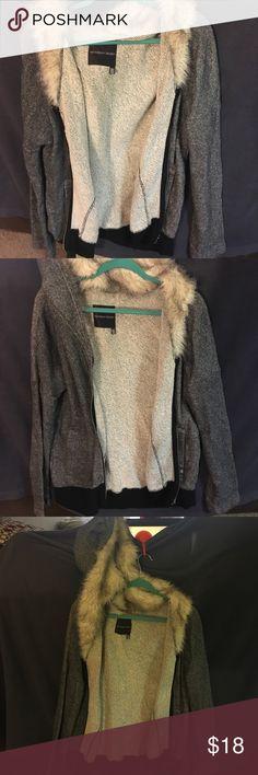 Victoria Secret Hoodie Medium Victoria's Secret hoodie, furry hood, gray jacket, back has black strip along bottom, zips up, size medium. Victoria's Secret Jackets & Coats Utility Jackets