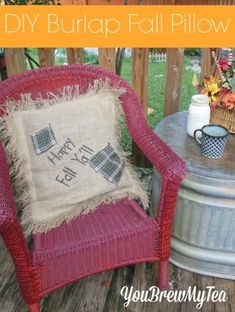 Make this super easy DIY Fall Burlap Pillow for your porch this season!
