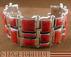 Coral & Genuine Sterling Silver Whiterock Link Bracelet Jewelry HS17759 Was: $1,199.88 NOW: $599.99
