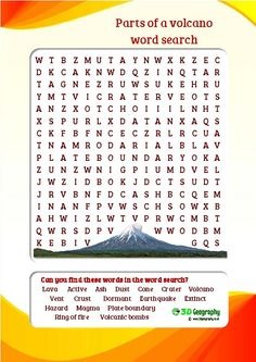 Parts of a volcano word search, colourful and child friendly.