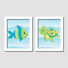 Boy Under The Sea Animals Fish Turtle Blue Aqua Yellow Set of 2 Prints Child Kid Children Bathroom Artwork Wall Art Bath Decor Picture