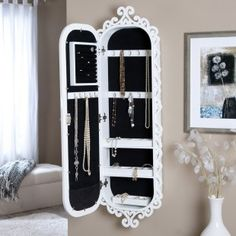 locking jewelry armoire mirror