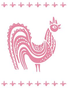 Pyrex Print - Butterprint Pink Rooster. $15.00, via Etsy.