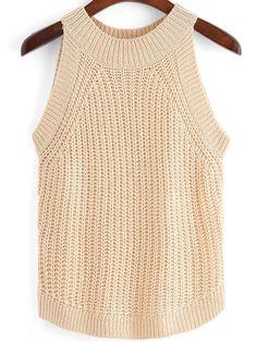 Albaricoque cuello redondo delgado suéter tanque de las mujeres
