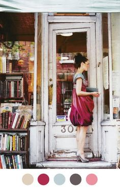 I love the old bookstore, her dress, the shoes. everything. I'd hang this in my office or living room, blown up really big.