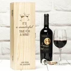 Personalised Luxury Wooden Wine Box - A Wonderful Time Christmas Gifts For Him, Personalized Christmas Gifts, Christmas Baubles, Personalised Wine, Wooden Wine Boxes, Bride And Groom Gifts, Best Gifts For Her, Red Wine, Alcoholic Drinks