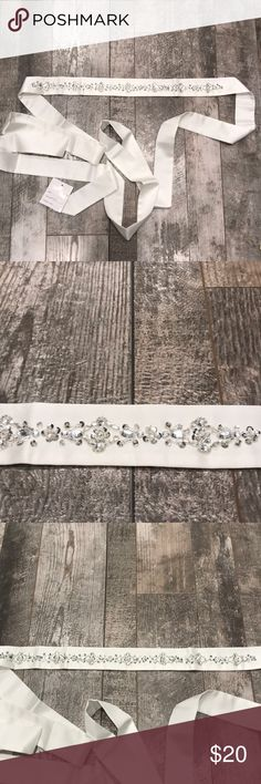 Silk Wedding Sash Entire length is about 90 inches, jeweled section is 17.5 inches Accessories Belts
