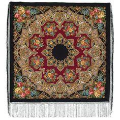 Elite black red Russian Pavlovo Posad Wool Shawl by russianicon