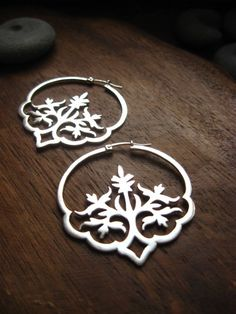 Dreaming in Hindi earrings | These lovely Indian-inspired floral earrings were handmade from sterling silver by AThousandJoys.com