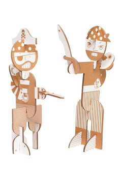 Flatout Frankie makes great cardboard DIY Kits for kids – like these Stack-up Pirates and Stack-up Dolls. Cardboard Playhouse, Cardboard Crafts, Cardboard Furniture, Origami, Pirate Day, Hanukkah Gifts, Building For Kids, Big Building, Kits For Kids
