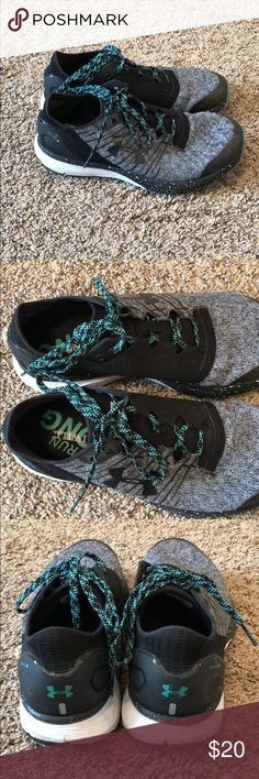 Under Armour Charged Bandit 2s! One a couple times, still in EXCELLENT condition. White, black and turquoise colors! Super comfy shoes.   They are marked a size 8, that's AN 8 IN MENS. I wear an 8.5 woman's and they fit perfect. Under Armour Shoes Athletic Shoes