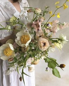 The most romantic spring bridal bouquet with peonies, sweet peas, orchids, and ranunculus. Wedding Flower Arrangements, Floral Arrangements, Wedding Bouquets, Flower Centerpieces, Wedding Centerpieces, Wedding Decorations, Flower Aesthetic, Bridal Flowers, Spring Flowers