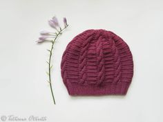 Orchid pink slouchy beanie hat hand knit gift women girl by Otruta