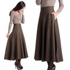 new 2014 wool black solid color fashion women maxi brand skirt patterns casual a-line skirt winter long woolen womens skirts