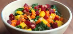 Roasted Beet, Sweet Potato & Kale Salad With Horseradish Dressing