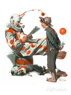 "Norman Rockwell Saturday Evening Post Cover Fine Art Poster Print ""Meeting the Clown"" Norman Rockwell Prints, Norman Rockwell Paintings, Caricatures, Pierrot Clown, Send In The Clowns, Saturday Evening Post, 3d Fantasy, Arte Pop, Vintage Magazines"