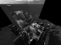 Mars Rover Curiosity Snaps Hi-Res Self-Portrait   This high-res mosaic of 20 images is the first clear self-portrait of NASA's Mars rover Curiosity on the Red Planet. The rear of the rover is at top, with two right-side wheels on the left. The rim of Gale Crater forms the lighter-color strip of the background. Images taken on Aug. 8 EDT, 2012. Released Aug. 17.  CREDIT: NASA/JPL-Caltech