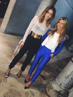 Outfits : sheer white blouse with cigarette pants and strappy heels vs cobalt suit with white details and white top