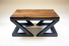 industrial solid walnut steel coffee table - one of a kind -