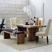 Rustic Moden by West Elm - Emmerson table and bench, Willoughby chairs in leather