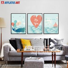 AFFLATUS Modern Cartoon Whale Sailing Wave Life Quotes Wall Pictures For Kids Room Canvas Painting Art Print Poster Home Decor #Affiliate