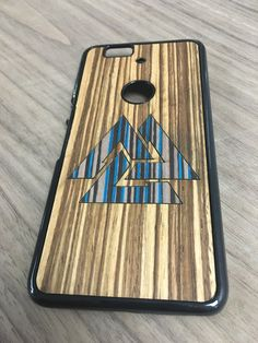 Nexus 6P case wood triangle Real wood Blue sea par UnikCase1
