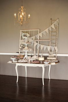 Adorable #vintage dessert table. Loving the chandelier too! {Saleina Marie Photography}
