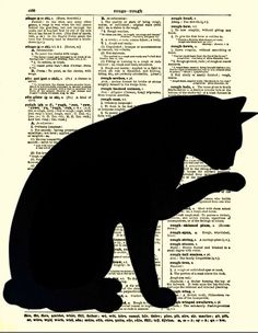 Dictionary Art Page, Sleek Cat Silhouette, Black Cat Art, Antique Dictionary…