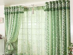 different choices for layered curtain ideas with green flower design