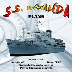 "Full size Printed Plan cargo-passenger Scale 1:164 L 40"" S.S. UGANDA Suitable for radio control #radiocontrol"