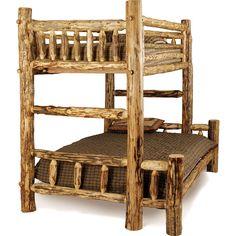 Aspen Log Rustic Bunk Bed Twin/Full