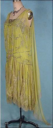 1928 Chartreuse Silk Chiffon Silver Beaded, Rhinestone and Pearl Flapper Dress