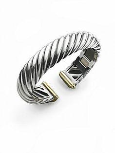 David Yurman Sterling Silver & 18K Yellow Gold Cable Bracelet