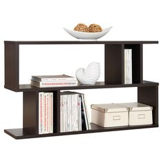 Bring contemporary appeal to your living room or den with this eye-catching bookcase, showcasing a geometric silhouette and 2 open shelves for displaying fra...