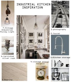 Industrial Kitchen Inspiration 1) photography by cocodestudio.etsy.com 2)  faucet on kitchen-a.com  3) kitchen storage on momolivingonline.com  4) vintage postal balanceon mydesignchic.com  5) flooring on ideal-legno.com  6) tarnished silvr cup on missmustardseed.bigcartel.com  7) vintage industrial pulley ligt on mariemortensendesign.com   8) inspiration photo by prettystuff.tumblr.com