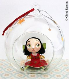 Fairy rood in de zeepbel, OOAK DOLL