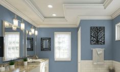 Chic and soothing bluish gray paint shades for a trendy and relaxing home. These tranquil paint colors will transform your home and how you feel in it. Bathroom Paint Colors, Interior Paint Colors, Paint Colors For Home, House Colors, Pottery Barn Paint Colors, Gray Interior, Interior Doors, Modern Interior, Bluish Gray Paint