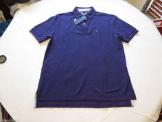Mens Tommy Hilfiger cotton Polo shirt M solid NEW 7845143 Parachute Purple 511 #TommyHilfiger #polo