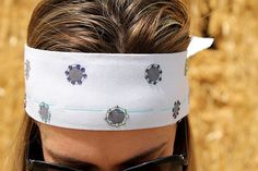Grey Polka Dot with Multi-Colored Rhinestones on Grey Bandana Headband on Etsy, $9.99