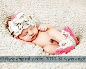 Hand Knitted Baby Hat in Pink and IVORY LACE with Ribbon - cotton knitted baby hat-Children Spring Children Clothing