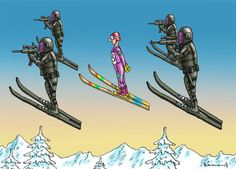 This cartoon is saying that the security is so tight that the skier has guards while preforming.