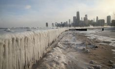 North Avenue Beach on Lake Michigan is encased in ice as temperatures hit a record low of -16 degrees fahrenheit.