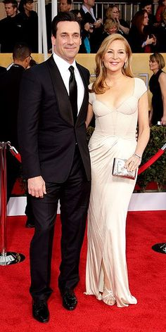 Jon Hamm heated up the red carpet at the 2013 SAG Awards when he arrived in a tux. He walked the red carpet with his longtime girlfriend, Jennifer Westfeldt, Hollywood Couples, Celebrity Couples, Fashion Couple, Fashion Show, Posh And Becks, Jon Hamm, Sag Awards, Celebrity Gallery, Red Carpet Looks
