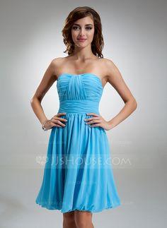 Bridesmaid Dresses - $86.99 - A-Line/Princess Sweetheart Knee-Length Chiffon Bridesmaid Dress With Ruffle (007004986) http://jjshouse.com/A-Line-Princess-Sweetheart-Knee-Length-Chiffon-Bridesmaid-Dress-With-Ruffle-007004986-g4986?ver=xdegc7h0