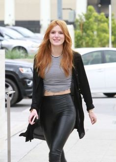 Bella Thorne in Leather Pants in Hollywood
