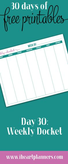 Welcome to day 30, the final day of 30 Days of Free Printables! Our final printable is another request from one of our Sweet Life Planner Club members.  Rachel requested a simple weekly docket that all fits onto one page.