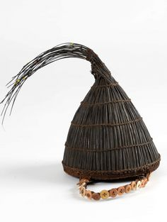 Africa | Prestige hat / headgear from the Lega people of DR Congo | Vegetal fiber, buttons, elephant hair