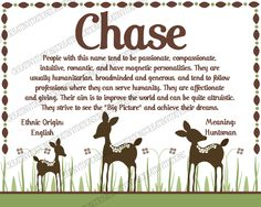Willow Deer- Name Meaning Kids Room Wall Print 8x10 Cardstock - Any Colors. $5.00, via Etsy.