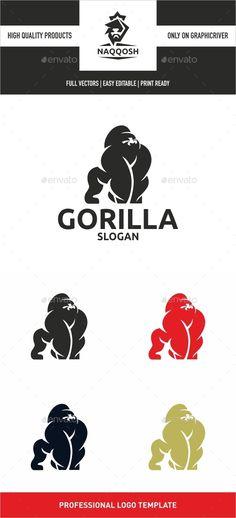 Gorilla Logo Design Template Vector #logotype Download it here: http://graphicriver.net/item/gorilla/13688367?s_rank=925?ref=nesto